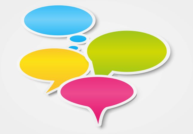 speech bubbles representing external communication